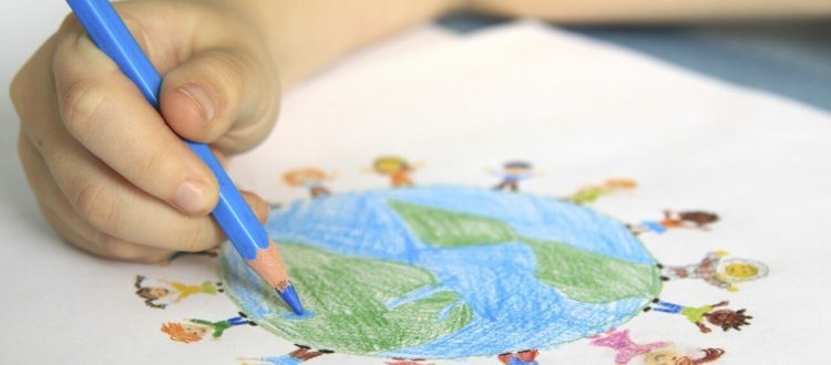 Help make the case for Global Learning - child's hand drawing globe
